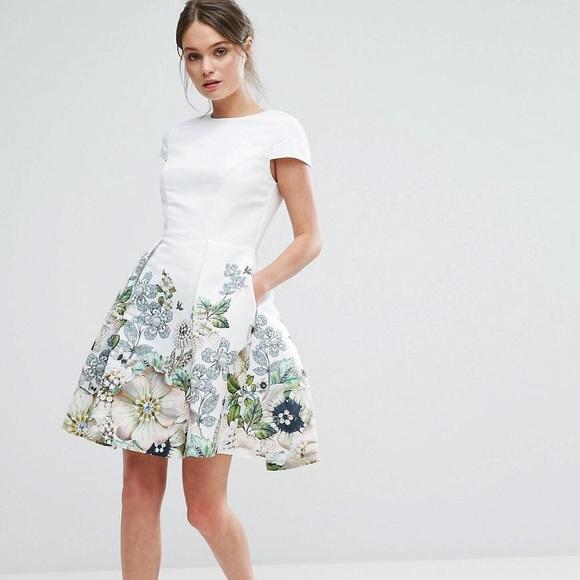 1207f55cf Ted Baker Dresses | Ivory Yvetta Gem Gardens Skater Dress | Poshmark